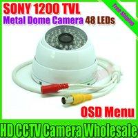 "Cheap Free shipping NEW 1 3"" SONY CCD HD 1200TVL Dome Camera Indoor security camera 48 led IR 20 meter CCTV Camera Metal CCTV Camera"