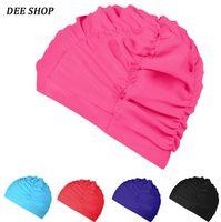 Wholesale Fashion comfortable cloth women men swimming cap adult plus size ear swimming hat Waterproof Nylon Waterdrop Cover