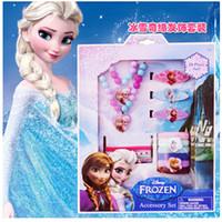 Wholesale Frozen Princesses Hair Decorations Necklace Bracelet Hairpin Set Party Dress Up Hair Accessories Gift Box