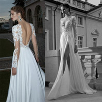 A-Line white evening - 2015 Berta A line V Neck White Split Lace Long Sleeves Prom Dresses Elegant Evening Gown vestido de renda Beach Chiffon Wedding Dress BO3923