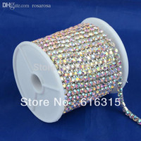 Wholesale mm gold plating cup chain rhinestones with crystal ab color metal cup chain trimming