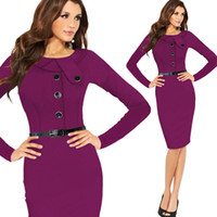 belted shift dress - 2016 New Fashion OL Women O neck Full Sleeve have belt button Sheath Shift Party Cocktail career dress