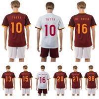 # 10 # 16 en casa TOTTI DE ROSSI Roma kits rojos de distancia camisa deportes blancos Jersey Tailandia del fútbol fútbol de calidad chándal uniforme envío gratuito