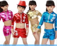 Wholesale Bright Skin Modern Dance Split Suits Boy Girls Children s Dancewear Performance Clothes Jazz Latin Dance Party Stage Costume color