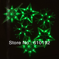 Venta al por mayor de 2015 colgante nuevo de la cadena de luces LED 6M / 6pcs colgante verde grande de la estrella del copo de nieve de los chrismas holiday luz 220V / 110V, libera la nave