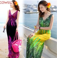 hawaiian dresses - 1193 Plus Size New Fashion Women s Bohemian Peacock Tail Hawaiian V neck Long Beach Dress Sundress Summer