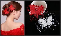 Wholesale Elegant White Red Bridal Headdress Head Faceplate Hair Ornaments Handmade Wedding Hair Accessories Jewelry Butterfly Hair Clips