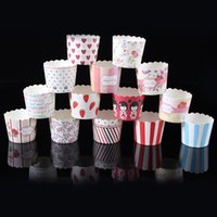 Wholesale Paper bucket MUFFIN paper cake cups Stripe and Dot Paper CUPCAKE CASES baking cup cake holder