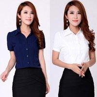 ladies casual wear - Drop Shipping Korean Career Lady Formal Chiffon Shirts Plus Size S XL Business Office Wear Women Striped Casual Blouses White Blue HC0300