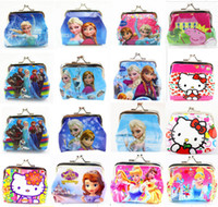 Blue bag button - Girls D Cartoon Frozen peppa Sofia Princess Coin Purse with iron button shell bag wallet Purses children Gifts For Holidays free DHL