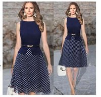 Wholesale New Fashion Women Summer Dress Vintage Celeb Belted Polka Dot Party formal dress Wear To Work Tunic evening party Dresses gown OXL13195