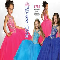 Wholesale Ritzee Girls Neon Pink Girls Pageant Dresses Girls Size V Neck Beaded Princess Dresses Graduation Birthday Party Princess Gowns
