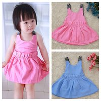 halter tops - Summer Baby Girls Dress Kids Girls Vest Dress Cotton Clothing Girls Halter Tops Colors