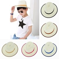 cowboy hats kids - 2015 New Children Straw Cowboy Jazz Visor Hats Kids Summer Beach Casual Sun Caps For Girls Boys Color EUX
