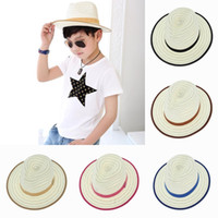boys hats - New Children Straw Cowboy Jazz Visor Hats Kids Summer Beach Casual Sun Caps For Girls Boys Color EUX