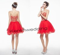 Wholesale 2015 Occasion Dresses Cheap Fashion Appliques Beaded Sweetheart Short Cocktail Party Dresses Red Tull Homecoming Prom Dress With Ruched
