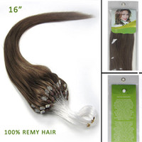 micro loop hair extensions - 16 quot Loops Micro Rings Beads Tipped Remy Human Hair Extensions S g Chestnut Brown