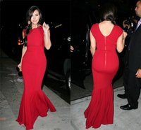 Cheap Kim-Kardashian Celibrity Dresses Mermaid Crew Cap Sleeve Floor Length BG50538