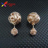 ball earrings twist - arrings Stud Earrings christmas gift new fashion hot gold silver black hollow twisted wire double ball piercing stud earrings for wo