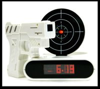 Wholesale New Gun Alarm Clock With LED Blacklight Laser Target Shooting Gun Digital Alarm Clock Great Gift Promotion