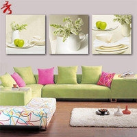 flower picture frame - 3 Panel Modern Printed Fruits Apple Painting Picture On Canvas White dish Flower Kicthen Decor Cuadros Landscape For Living Room No Frame