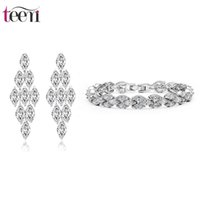 Wholesale Teemi Big Drop Earring Bracelet Hot Sale Cubic Zirconia Bridal Wedding Rhodium Plated Charming Jewelry Sets Gift for Women Party