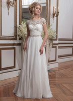 alexander training - 2016 Justin Alexander Wedding Dresses A Line Scoop Beaded Appliques Cap Sleeves Ruffles Crystals Sash Covered Buttons Vintage Bridal Gowns