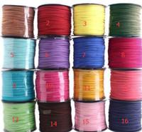 al por mayor cuero brazalete mixto cuerda-el envío libre mezclado de color marrón de oro rojo 100M 3 mm x 1,5 mm Flat Faux Suede Corea del cuero Velvet secuencia de la cuerda de la cuerda de rosca pulsera de encaje diy