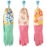 long rubber gloves - Kitchen Rubber Gloves Household Long Wash Latex Gloves Dish Washing Latex Gloves Cleaning Laundry Waterproof Flowers Design Rubber Gloves