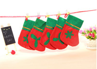 Wholesale Christmas socks Non woven Christmas stockings Green mouth applique stocking red and green Gifts socks