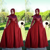 arabic headwear - Arabic Dubai style Red Formal Prom Dresses with Long Sleeve Vestidos de festa Sparking Sequins Chiffon Party Evening Gowns without headwear
