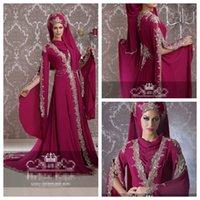 t back - Mulberry Chiffon Muslim Wedding Dresses Long Sleeves Appliques Rhinestones Beading Arabic Dresses Floor Length Luxury Handmade Bridal Dress