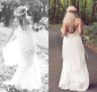 Cheap 57.1Romantic White 2014 Boho Cheap Spaghetti Lace Wedding Ball Dresses Bohemian Vintage Beach Sexy Long Party Bridal Gowns Dress Simple Chif