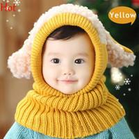 Wholesale Knit Winter Hats Baby - 2015 Korean Kids Neck Wrap Scarf Hats Fashion Baby Girls Boys Children Ear Knit Sweater Cap Hats Winter Warm Knitted Puppy Hat SV012641