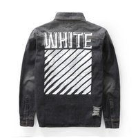 Cheap Fall-2016 fall winter rare new US hip hop kanye west OFF WHITE Best quality destroyed patchwork button up denim jacket