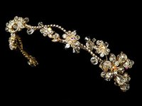 silk hair band - lady hair jewelry Fashion Bridal Tiaras Gold Plated Crystal Hair Accessories Headpieces Frontlet Hair Band v02029
