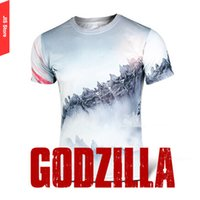 animations camping - Men s fashion casual T shirts Quick drying shirt Men Sport Running Tops Comic and Animation GODZILLA printed T shirts