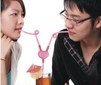 Wholesale 2015 lovers suckpipe romantic diy straw set novelty items couples for kids and mother party wedding decorations freeshipping