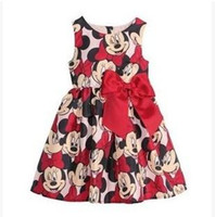 minnie mouse dress - Children Cartoon Dresses Summer Hot Sale Dresses Large Bowknot On The Waist Dresses Minnie Mouse Dress Sleeveless Dresses