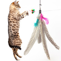 Wholesale Colorful Feather Design Tease Cat Stick Cat Catcher Teaser Toy Three short scaling Exerciser For Cat and Kitte Color Assorted A222