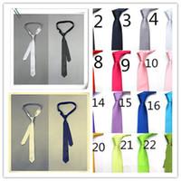 Wholesale Skinny Tie Mens Tie Skinny Tie Hot Mens Pure Color and Adjustable Casual Tie Fashion Mens Polyester Slim Tie