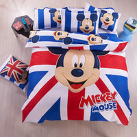 Wholesale New colors set Aloe cotton Mickey Minnie Bedding Set kid children cute carton Bedclothes cotton quilt sheet pillowcase bed linen DHL