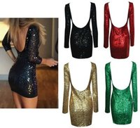 Casual Dresses dress factory - Factory The new Women s Sequins sexy dress Neck U shaped back Air Leakage Waist Package hip Nightclub dresses A