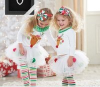 baby girl white sweater - Baby Girl Christmas set White Reindeer Sweater Blouses Rainbow Striped leggings Pants Set Childrens Xmas Outfit Sets pc set