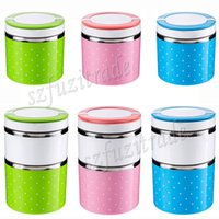 Wholesale Cute Dot Pattern Design Stainless Steel Food Insulation Container Lunch Box Bento Dinner Bucket Handle Blue Green Pink AIA005092