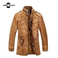 Wholesale New winter cowhide leather men long brown motorcycle leather jackets in the single breasted suit collar men s leather jacket