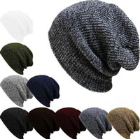 Wholesale Winter Trendy Warm Hat Simple Style Chunky Soft Stretch Cable Men Knitted Beanie Hat Beanie Skully Hats M85