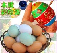 Wholesale DIY Easter eggs cm cm children s self painted Easter eggs Egg tray wooden egg DIY material pigment Christmas Easter eggs play house toys