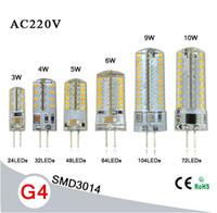 Acheter Lampe à halogène-Super G4 LED lumineuse Lumière 3014 SMD 3W 4W 5W 9W 6W 10W 220V Remplacer lampe halogène 80W 15W- lampe à ampoule 360 Angle LED