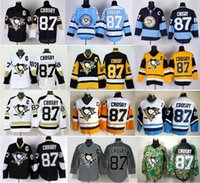 Wholesale 2016 New Pittsburgh Penguins Hockey Jerseys Ice Sidney Crosby Jersey Stadium Series Winter Classic Crosby Throwback Jersey Blue Bl